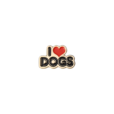 I Love Dogs, enamel pin badge  from Bermuda Press and Hello Apparel - UK, Mini Mi