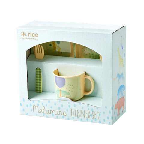 Rice 4 piece melamine dinner set for children, Mini Mi