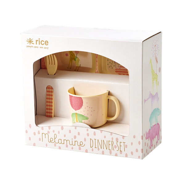 Rice melamine 4 piece set, pink, mini mi