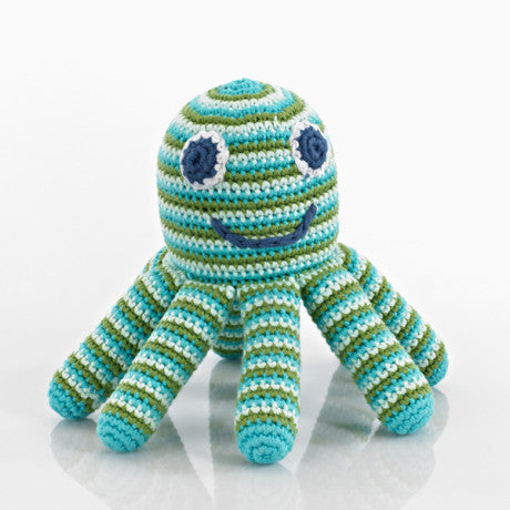 octopus blue and green rattle from pebble