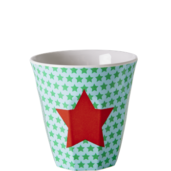 Rice melamine tumbler, star pink in green/blue