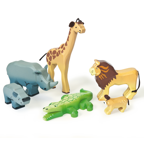 Le Toy Van - Savannah Wild Animal Set - Six wooden animals including giraffe, lion, rhino and more