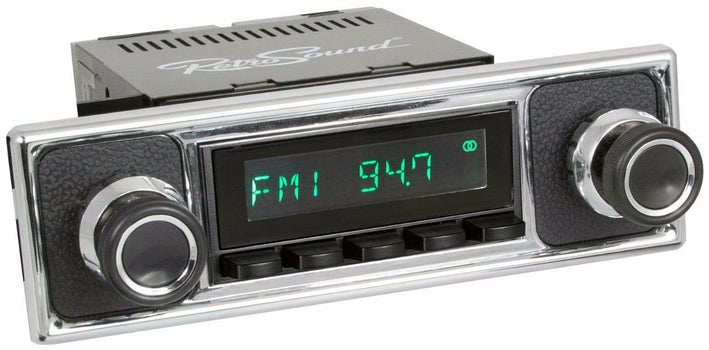 1955-65 Mercedes-Benz 190 San Diego Radio with Black Pebbled/Chrome Faceplate-RetroSound
