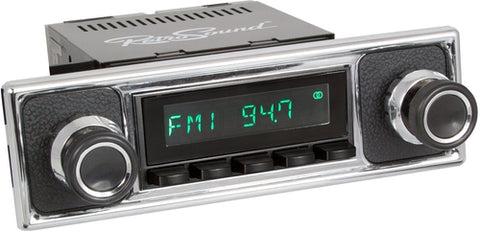 1960-66 Mercedes Benz 300 San Diego Radio with Black Pebbled/Chrome Faceplate-RetroSound