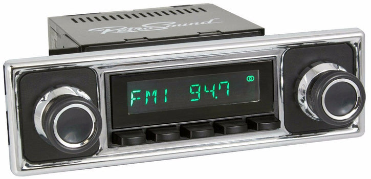 1955-63 Mercedes-Benz 180 San Diego Radio with Solid Black/Chrome Faceplate-RetroSound