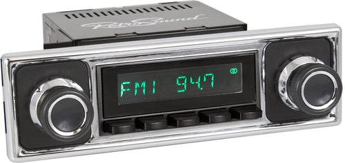 1964-72 Mercedes Benz 600 Long Beach Radio with Solid Black/Chrome Faceplate-RetroSound