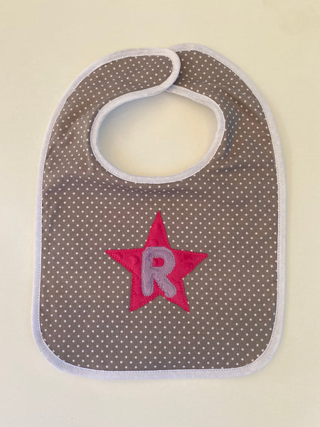 Tiny dot bib with purple initial and hot pink star
