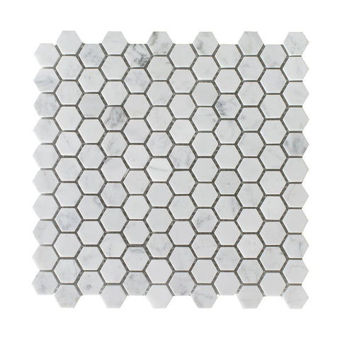 "Bianco Carrara Polished 1"" Hexagon Mosaic"