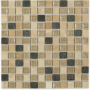"Art Glass Country Travertine 1""x1"" with Deco"