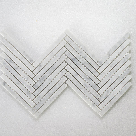 "Bianco Carrara Honed & Polished Herringbone 5/8""x6"""