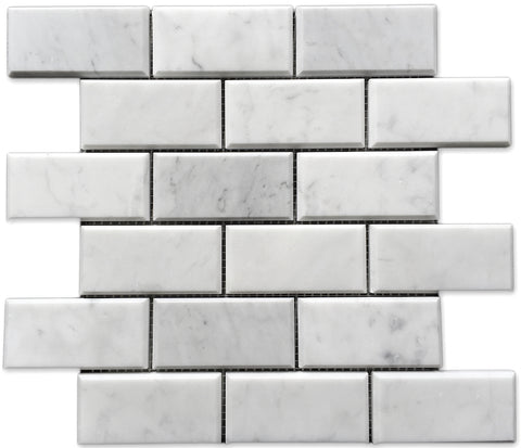 "Bianco Carrara Polished & Beveled 2""x4"" Mosaic"