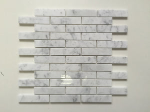 "Dolphin- White Carrara 1""x4"" Piano Brick Polished"
