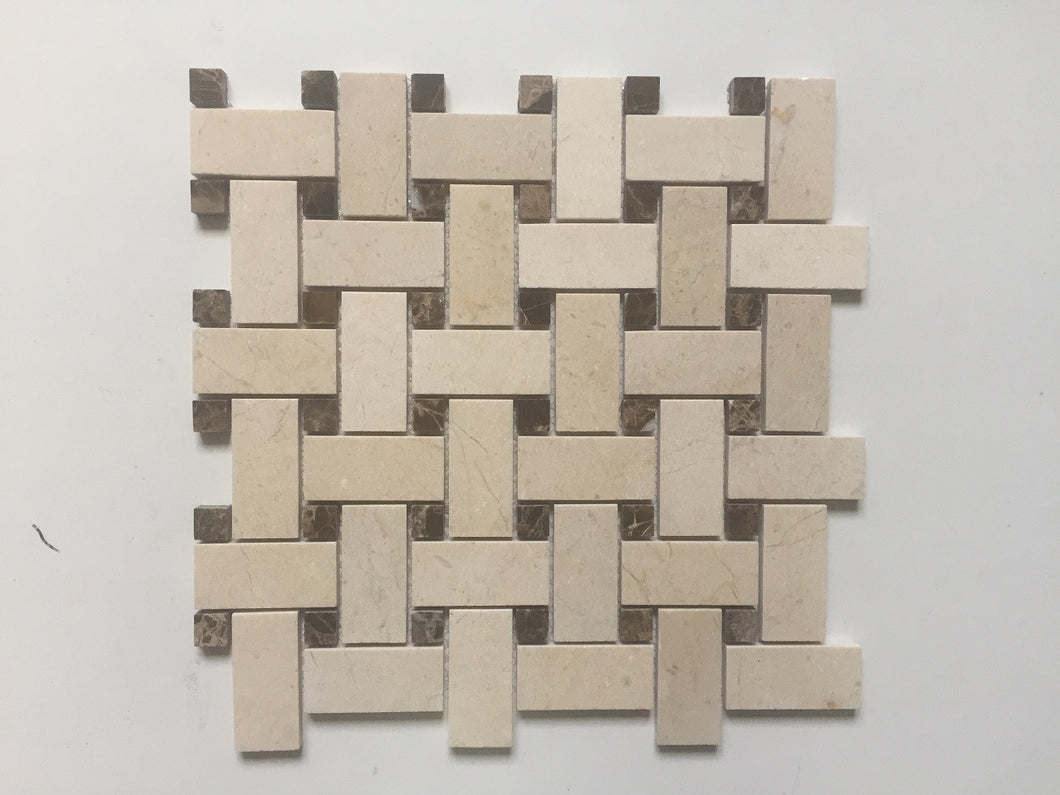 Dolphin- Crema Marfil Basket Weave w/ Dark Emperador Dot Polished