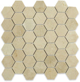 "Dolphin- Crema Marfil Hexagon 2"" Polished"