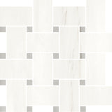 ALCO- Evoque White w/ Grey Dot Porcelain Basketweave