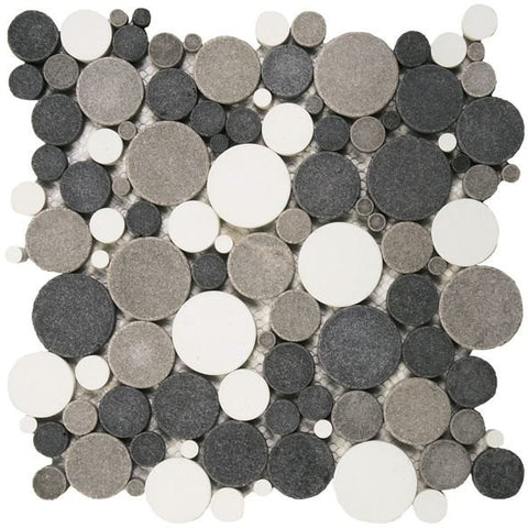Bati Orient- PIMI09 White/Black/Grey Mix Bubble Marble Mosaic