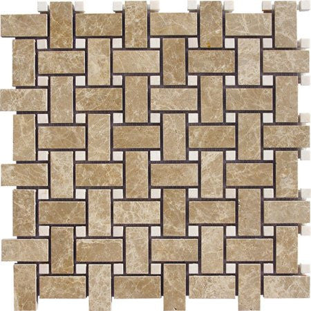Light Emperador Polished Basketweave w/ Cream Dot Mosaic