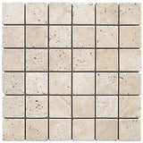 Light Travertine Tumbled 2x2 mosaic