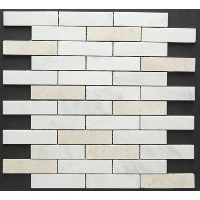 White Carrara & Crema Marfil Piano Brick Mixed Polished