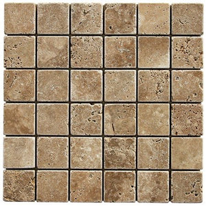 "Noce Travertine Tumbled 2""x2"" Mosaic"