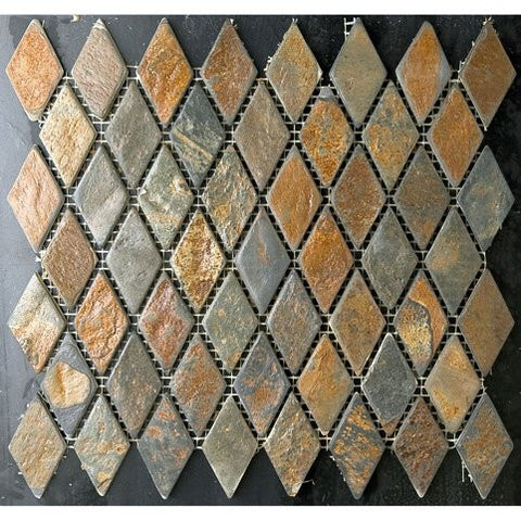 "Multicolored Rusty Slate 1"" Small Diamond Mosaic"