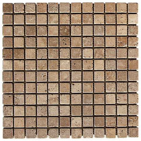 "Noce Travertine Tumbled 1""x1"" Mosaic"