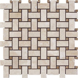 Light Travertine Honed Basket Weave w/ Noce Dot