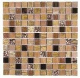 "Bati Orient- MAMI57 Beige/Brown Mix Marble/Glass & Metal 1""x1"""