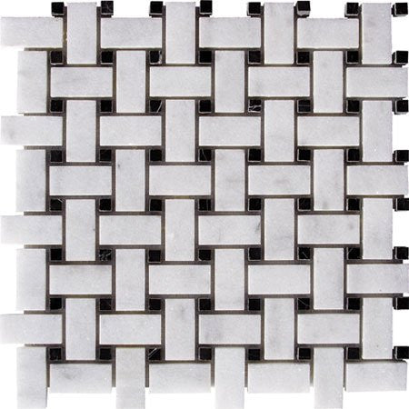 Bianco Carrara Honed Basket Weave Black Dot
