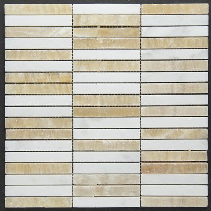Empire Honey Onyx & White Carrara Polished Mosaic