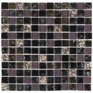 "Bati Orient- MAMI53 Black/Grey & Shell Mix Marble 1""x1"""
