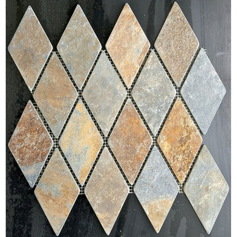 "Multicolored Rusty Slate 2"" Large Diamond Mosaic"