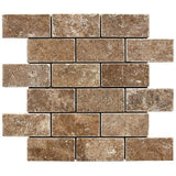 "Noce Travertine Tumbled 2""x4"" Mosaic"