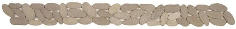 Bati Orient GABE15 Beige XL Matte Sliced Pebble Border 4x12
