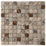 "Bati Orient- MAMI33 Brown Marble & Glass 1""x1"""