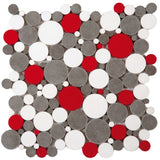 Bati Orient- PIMI22 White/Grey/Red Bubble Marble Mosaic