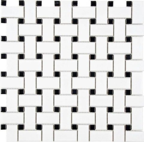 Dolphin Super White & Black Basket Weave Mosaic Polished