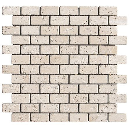 Light Travertine Tumbled 1x2 Mosaic