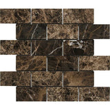 "Dark Emperador Polished 2""x4"" Mosaic"