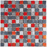 "Bati Orient- MAMI83 Grey & Red Mix Color Marble Mosaic 1""x1"""