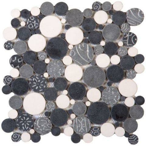 Bati Orient- PIMI18 White/Grey/Silver Mix Bubble Marble Mosaic