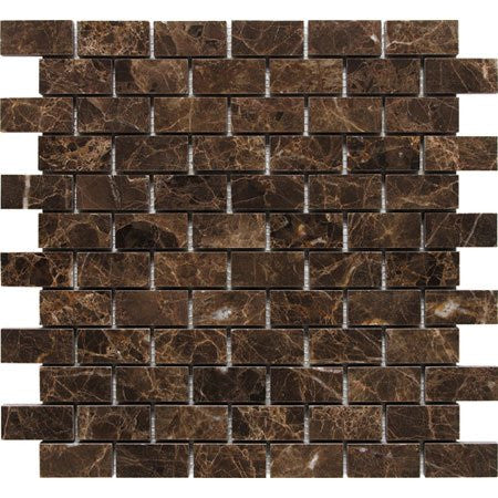 Dark Emperador Polished 1x2 Mosaic