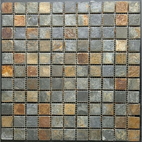 "Multicolored Rusty Slate 1""x1"" Mosaic"