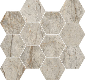 "Rondine- Canova Oxford Grey 3"" Hexagon Mosaic"