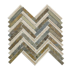 Art Glass Herringbone Slate Fern