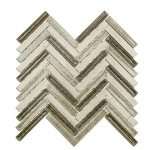 Art Glass Herringbone Wooden Moss
