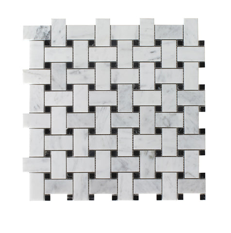 Bianco Carrara Polished Basketweave w/ Black Dots
