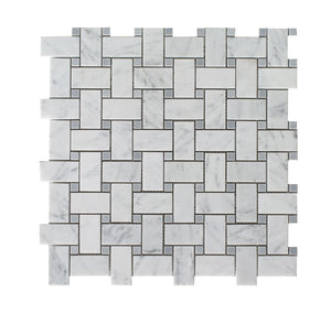 Bianco Carrara Polished Basketweave w/ Grey Dots