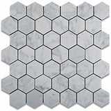 "Dolphin- White Carrara Hexagon 2"" Polished"
