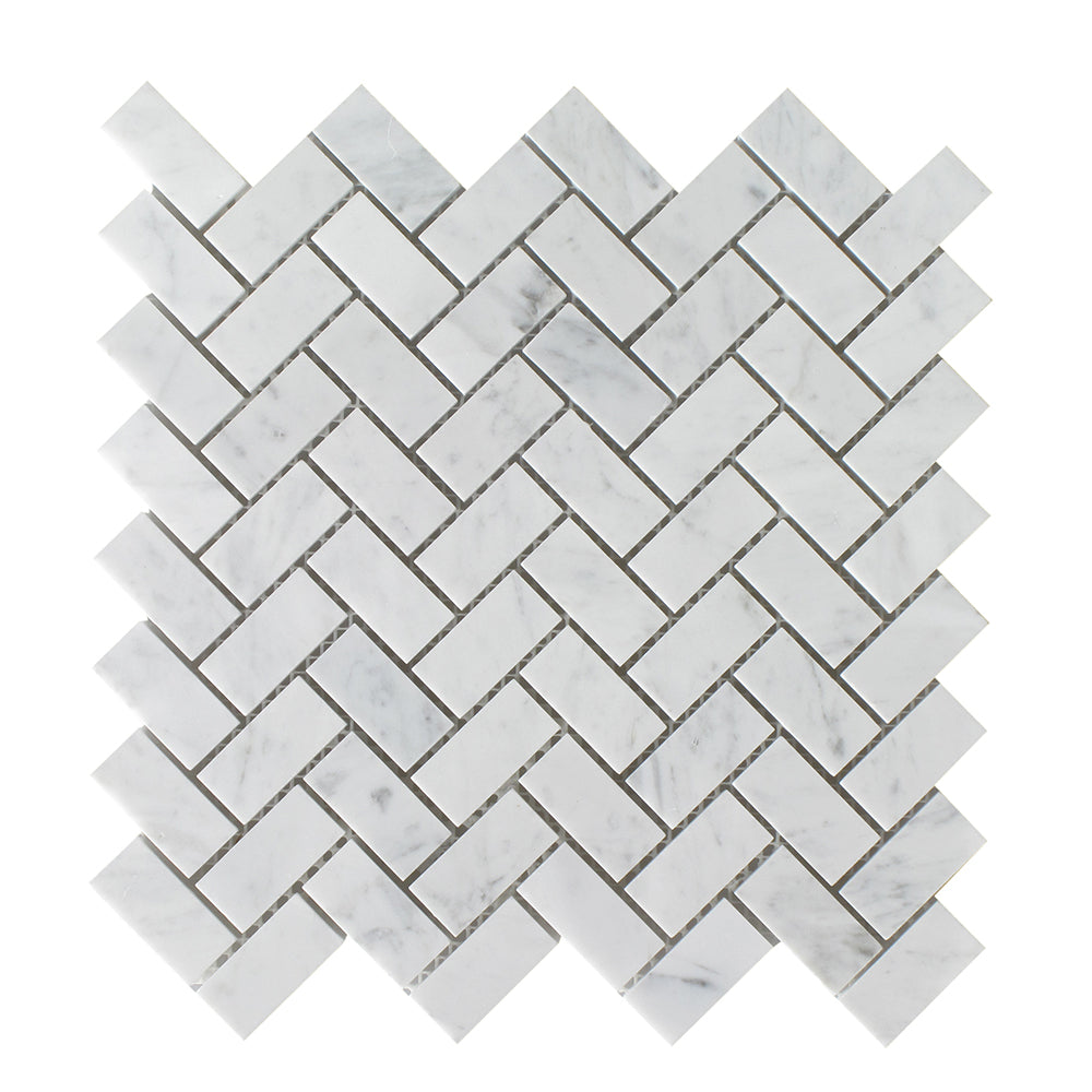 Bianco Carrara Honed Herringbone 3/4